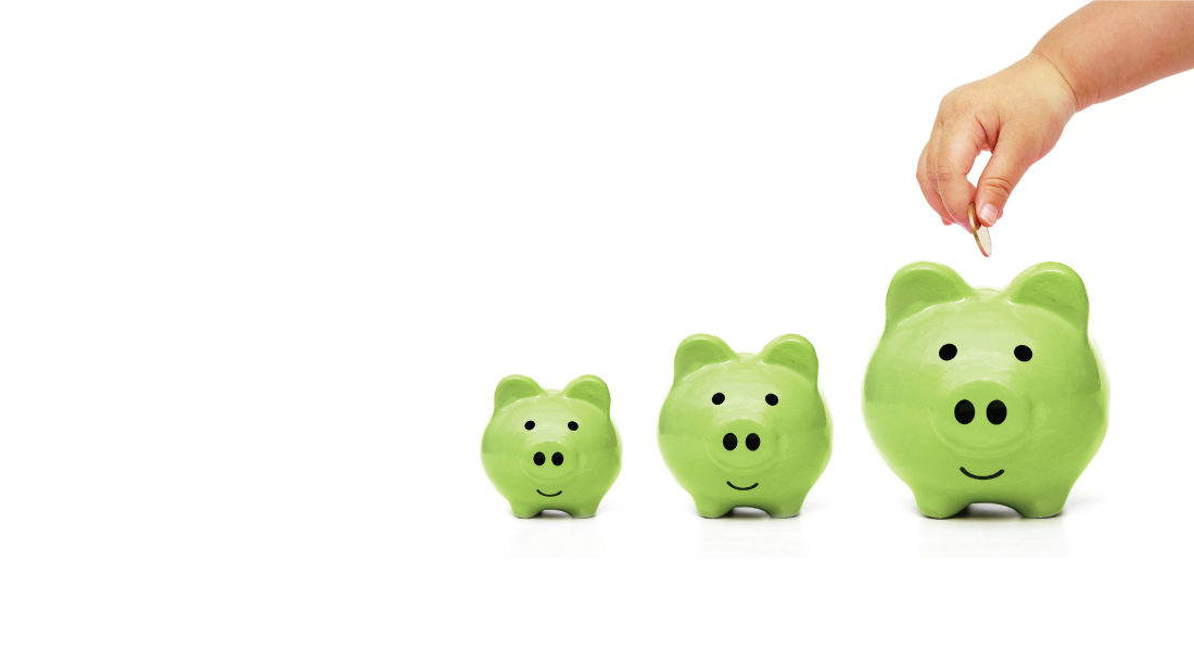 BankORION Sprout Savers CD Green Piggy Banks getting bigger